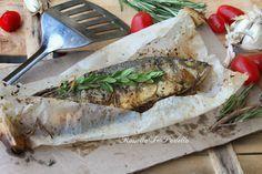 Branzino al cartoccio in padella. Cottura semplice, sana e gustoso per gustare il branzino. Ricetta facile e gustosa.