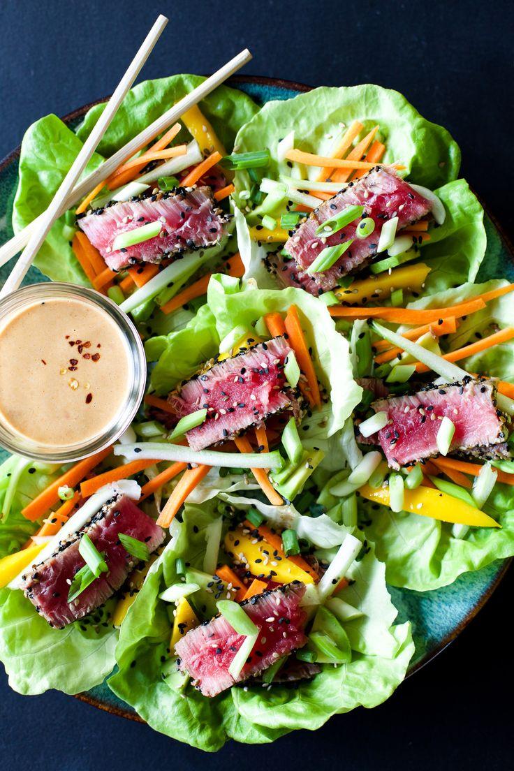 Ahi tuna lettuce wraps with peanut dressing.