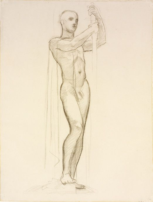 RISD Museum: John Singer Sargent American, 1856-1925. Study of Minerva for The Judgement of Paris, ca. 1922. charcoal on paper. 63.5 x 48.3 cm (25 x 19 inches). Gift of Emily Sargent and Mrs. Francis Ormond 29.124