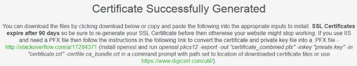 SSL Certificate Successfully Generated in SSL for Free