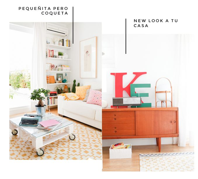 Custom projects - Deco & Living Bright colorful cheerful ideas for decor Love the brightly painted letters letters of alphabet on midcentury style wood buffet leaning against wall; rolling clear coffee table with large industrial wheels