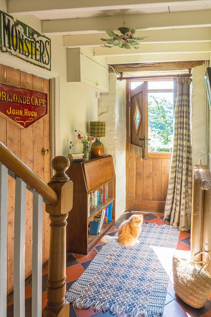 door curtain made from Welsh blanket in Jane Beck's Welsh cottage