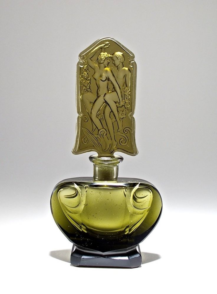 c1930 Ingrid Czech Grey Crystal Perfume Bottle