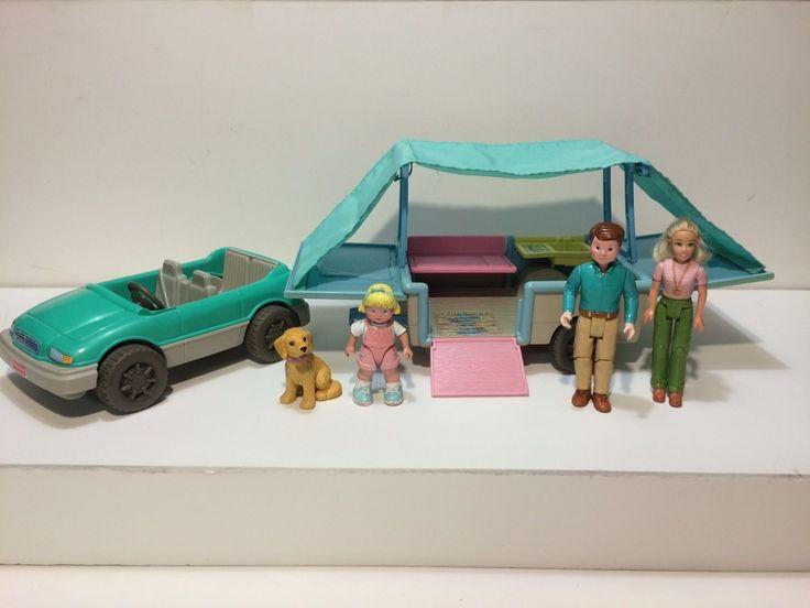 Dollhouse Fisher Price Loving Family Pop Up Camper Car Figures Xtra Dog 1997 Lot   eBay