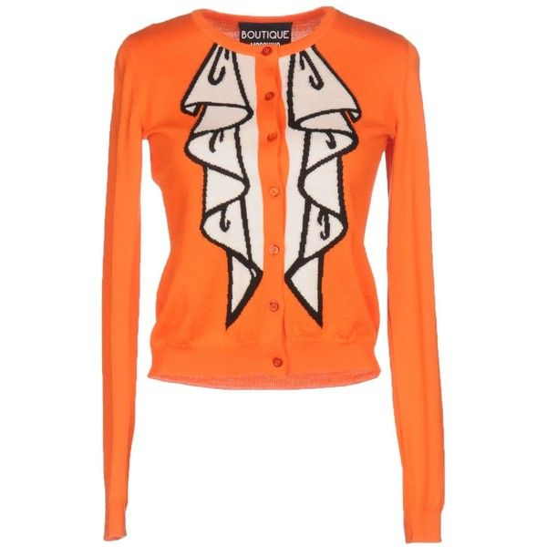 Boutique Moschino Cardigan ($315) ❤ liked on Polyvore featuring tops, cardigans, orange, light weight cardigan, orange top, long sleeve cardigan, lightweight cardigan and orange cardigan