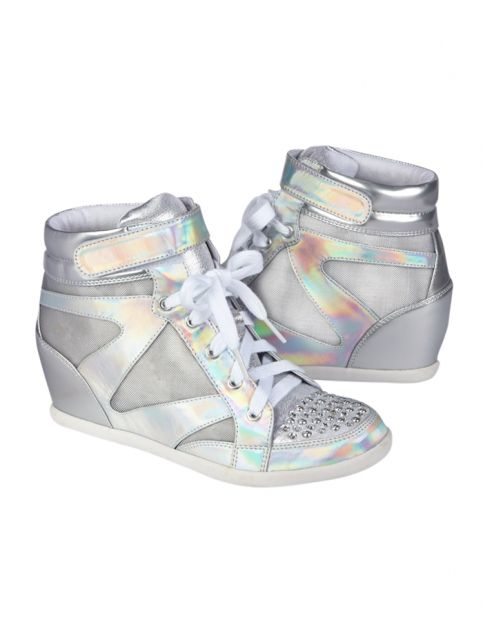 Holographic Wedge Sneakers | Shop Justice I WANT THESE REALLY BAD!!!