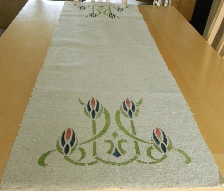 "This heavy woven linen runner seems to be made from a kit which had the design outlined and then painted in with textile paints. It has a small number on one end: 503. Colors of navy, lime and rust are very vibrant on the tan background. The selvadge edges are finished but the ends are raw and would need to be either fringed or hemmed. It measures a generous 54"" long x 17.5"" wide. Has no stains or problems of any kind."