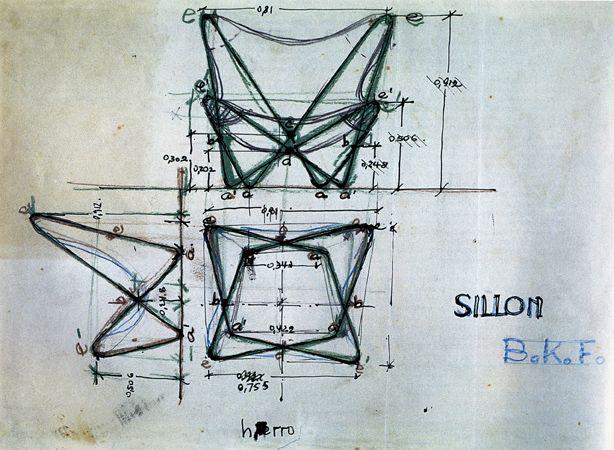 Sketch de la silla BKF- arquitectos Juan Kurchan y Jorge Ferrari Hardoy