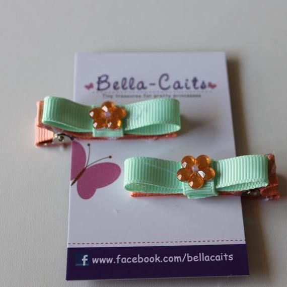 $5.00 Set of 2 Green and Peach Hair clips by Bella-Caits on Handmade Australia