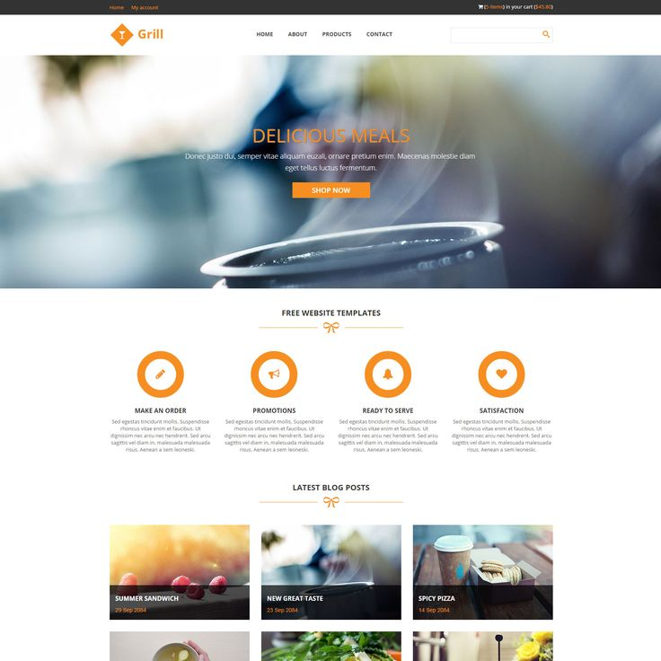 Web Page Site Map Example: Grill Is Free Restaurant Website Template, Bootstrap