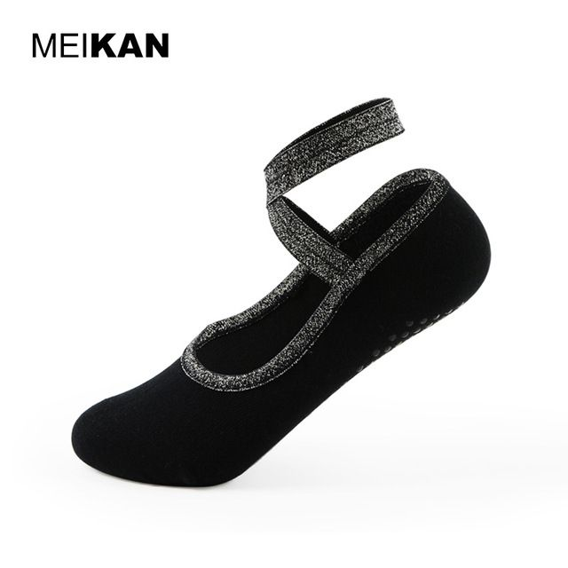 Just $9.09, Buy MEIKAN Women Ribbon Yoga Socks Thick Non-slip Floor Pilates Socks Cotton Exercise Black Dance Socks Ballet Professional Sokken