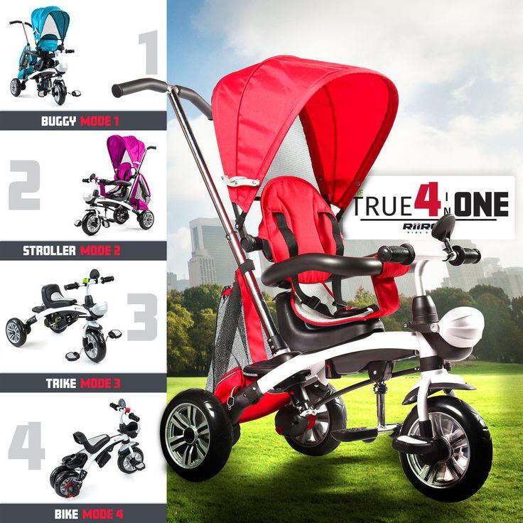 Riiroo 4 in 1 kids children trike tricycle 3 wheel ride