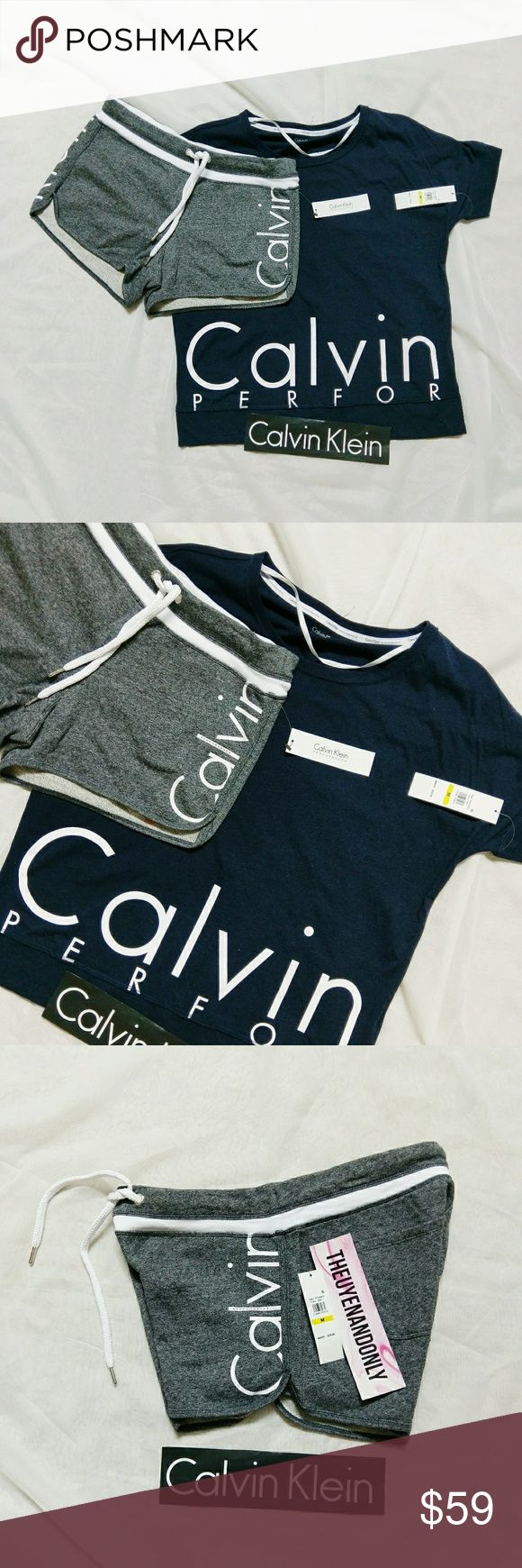 NWT Authentic CK Calvin Klein Performance Set PRICE IS FIRM  AUTHENTIC - NEW WITH TAGS  Not Accepting ANY Offer  FREE SHIPPING is available , please contact for more info  ONLY 1 SET is available. You will receive both in size MEDIUM Calvin Klein Tops Tees - Short Sleeve
