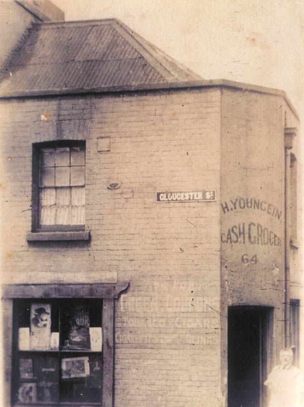 Hugo Youngein poses outside his 'Cash Grocer', No 64 Gloucester Street, c1920s. Courtesy Young family