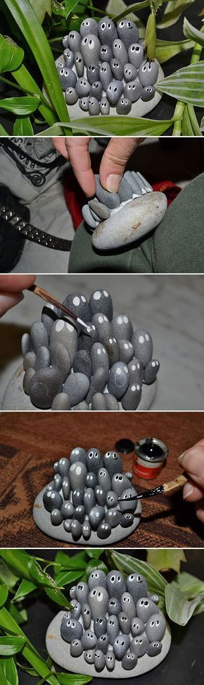 DIY Garden Trinkets • A round-up full of great ideas and tutorials! Including, from 'instructables', these cute and adorable 'garden things' made with rocks.