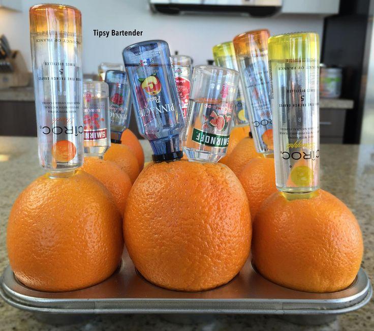 DRUNKEN ORANGES ~ Flavored Vodka (Tequila also works), Oranges, Cupcake Tray