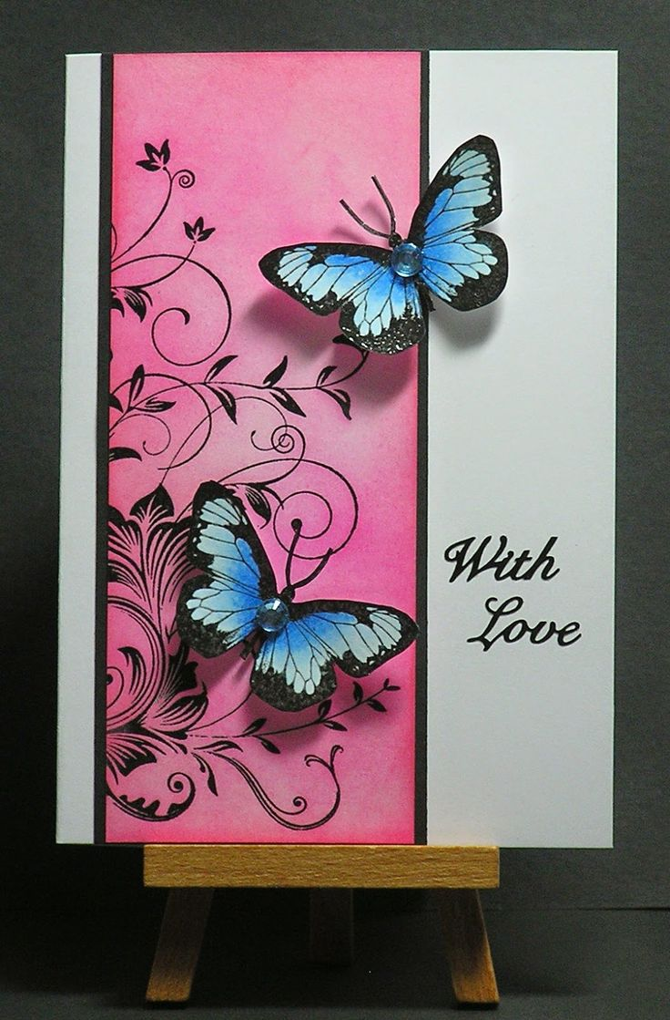 Cathys Card Spot: Pink with Blue Butterflies