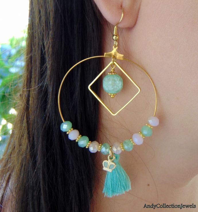 Hoops summer earrings Mint and pink earrings Crystal earrings Tassel dangle earrings Lava hoops earrings Crown dangle earrings Gift for her by AndyCollectionJewels, $13.00 EUR