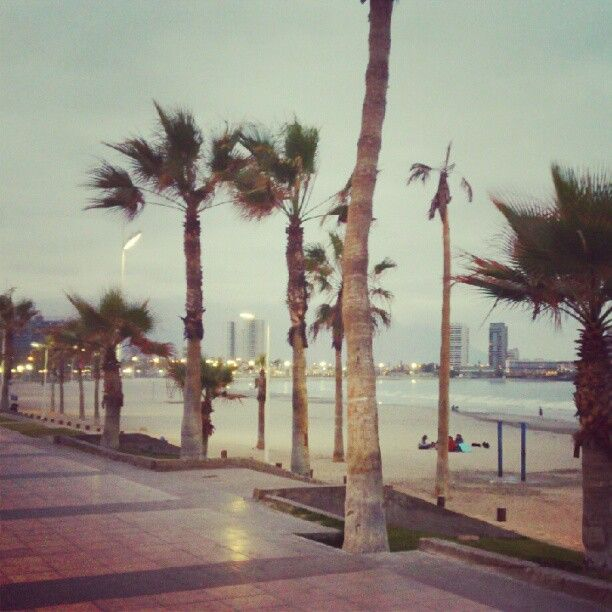 Paseo Playa Cavancha al atardecer.