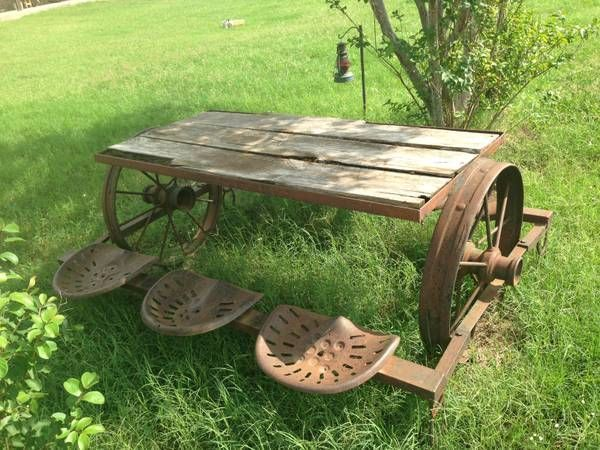 picnic table from old tractor seats | Rustic wagon wheel wood picnic table with tractor seats