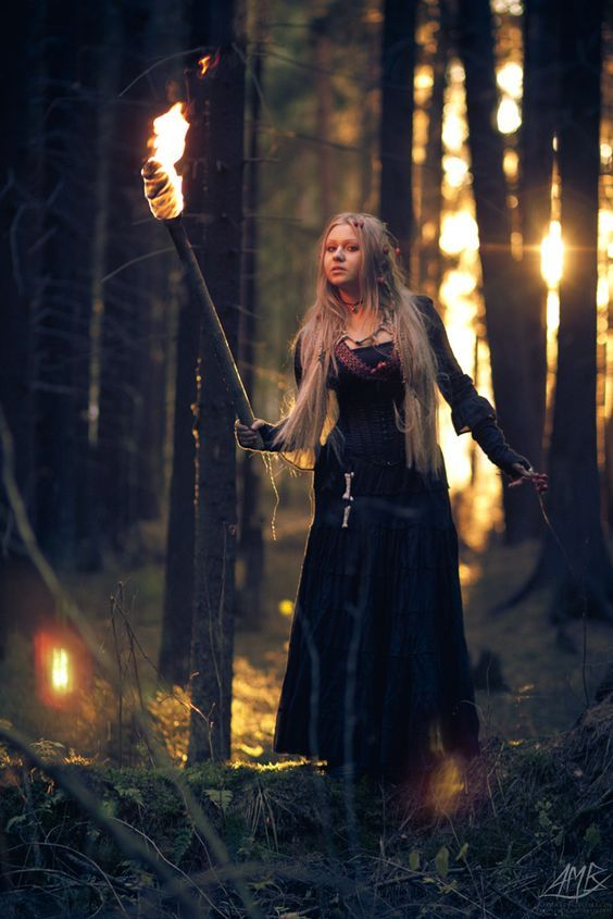 Wild fairy - with fire - sunset