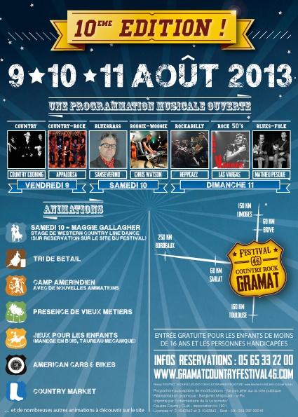 Festival Country-Rock de Gramat 2013 flyer verso