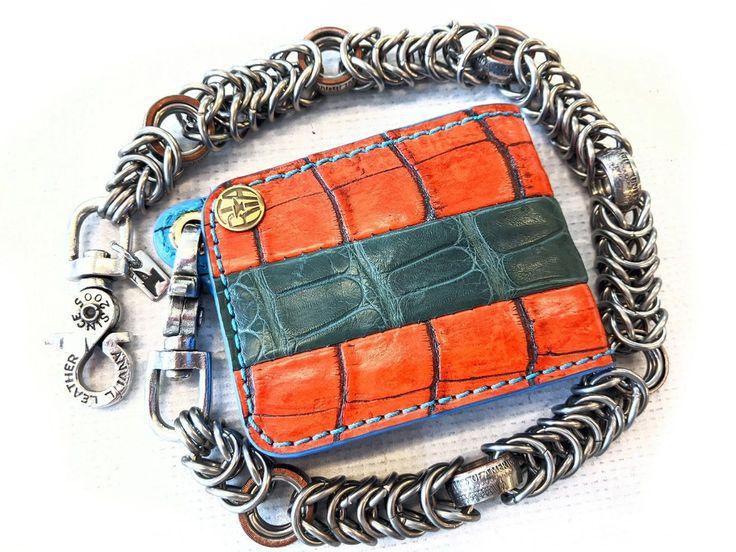 Mini Bifold Leather Chain Wallet Tri Tone Alligator Anvil Customs In 2020 Leather Chain Wallet Chain Tri Tone