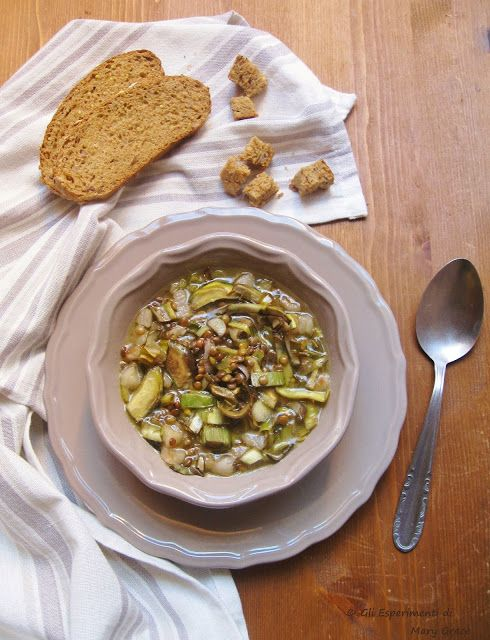Zuppa di Lenticchie, Carciofi e Lardo di Arnad DOP.  Ritemprante cena d'inverno. #dinner #soup #italianfood #homemade #food
