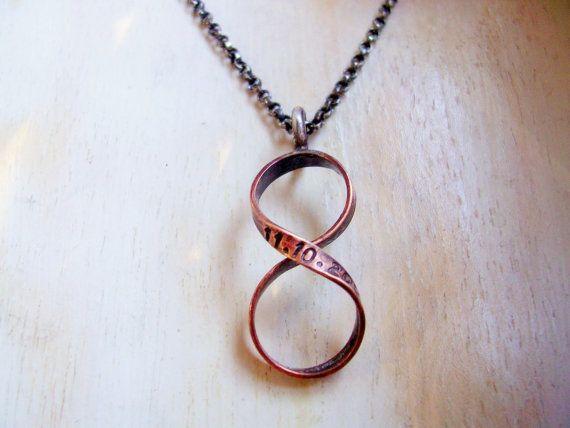 Bronze Custom Infinity Necklace Hand Stamped by NatsukoJewelry