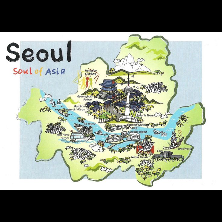 Korea Seoul City Tourist Attractions Map Postcard Korean – Seoul Tourist Attractions Map