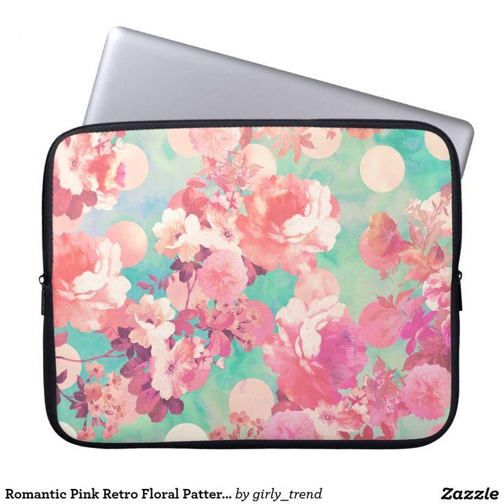Romantic Pink Retro Floral Pattern Teal Polka Dots Laptop Sleeves
