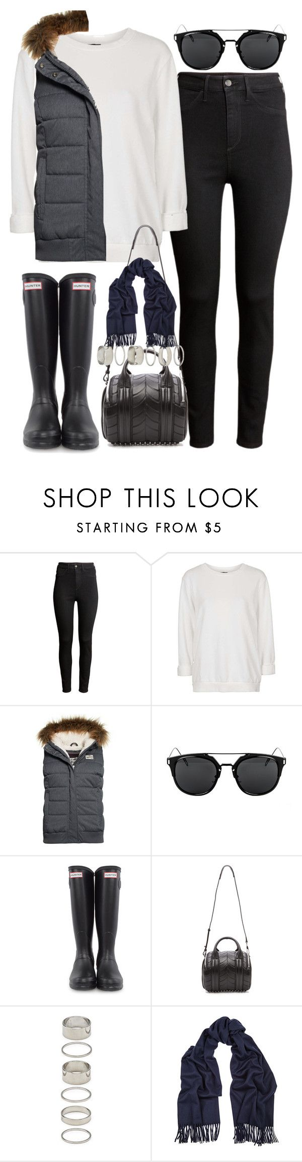 """Outfit for a rainy day"" by ferned ❤ liked on Polyvore featuring H&M, Topshop, Superdry, Hunter, Alexander Wang, Forever 21 and Acne Studios"