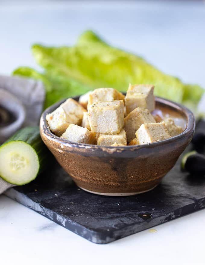 Vegan Feta Cheese That Tastes Crumbles Like Real Feta A Virtual Vegan Recipe Tofu Recipes Vegan Vegan Feta Cheese Recipes