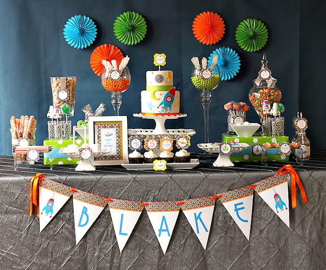 Blast Off Birthday Party ~ fun and colorful party, check out all the details and photos!