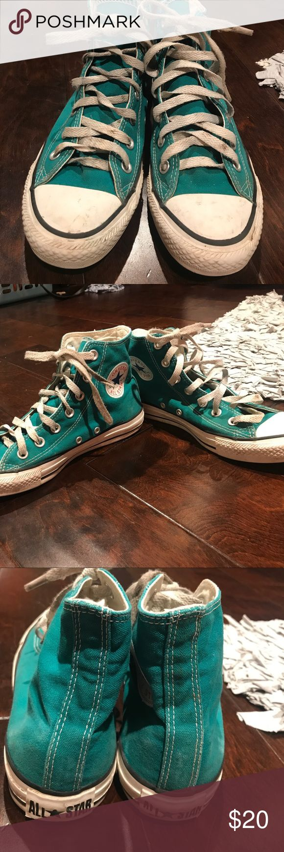 Teal converse Real converse bought for a costume- high tops Converse Shoes Sneakers
