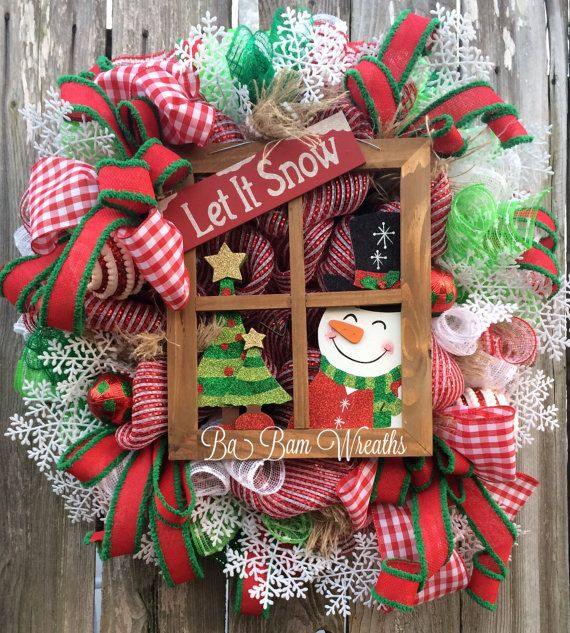 Snowman Wreath Snowman Decor Snowman Door by BaBamWreaths on Etsy