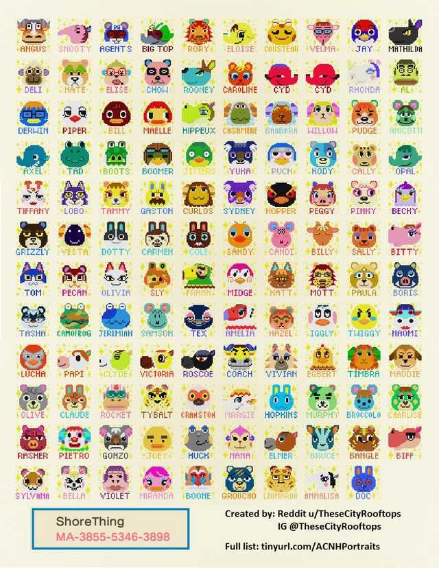 All 391 ACNH Villager Portraits with Names | Animal ...