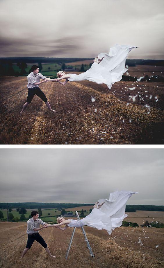 Nessa foto de Luke Sharrat, o Photoshop transformou uma fotografia de casamento em pura fantasia e romantismo!