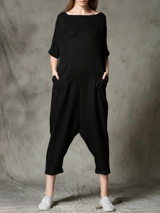 Black Plain Pockets Bateau/boat Neck Casual Jumpsuit