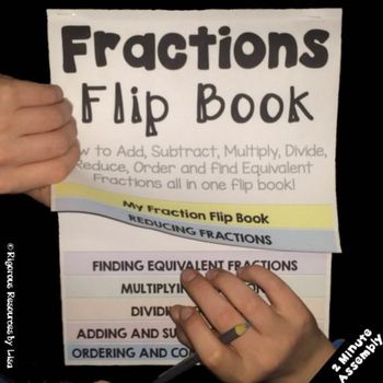 """Do your students struggle with the steps of adding fractions, subtracting fractions, reducing fractions, finding equivalent fractions,  multiplying fractions, dividing fractions, ordering fractions or comparing fractions? The Fractions Flip Book will take the frustrations out of teaching fractions and will serve as a """"cheat sheet"""" for your students."""
