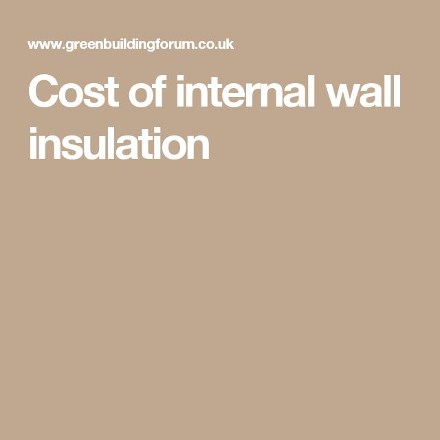 Cost of internal wall insulation