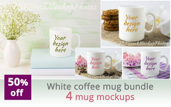 White coffee mug bundle by TSTStockMockupPhotos on @creativemarket