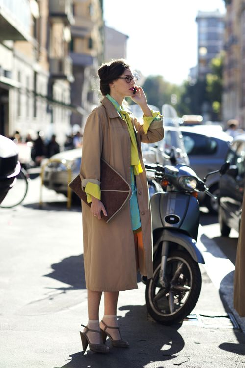 long coat over bright colors  (wish I wore more colors in general....always go to blacks and dark blues..)