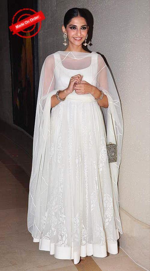 Plain White Bollywood Star Sonam Kapoor Anarkali Suit