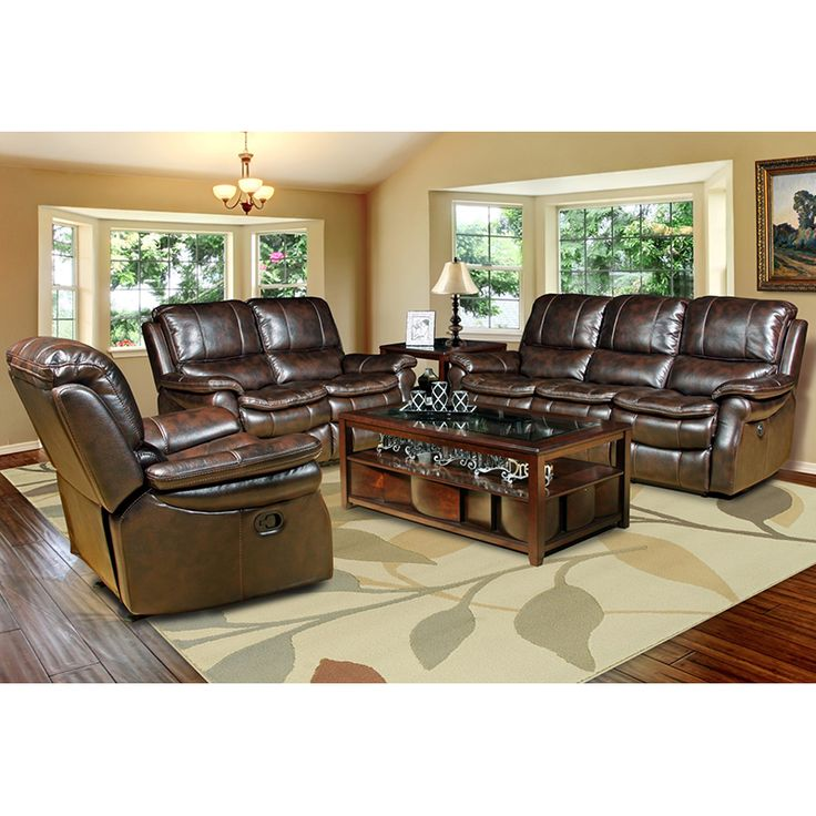 Juno Collection Sofa, Loveseat & Recliner Set in Nutmeg Leatherette #dynamichome #livingroom #set #furniture #furnitureset #sofa #loveseat #recliner #nutmeg #lux #comfy #reecline #relax #traditional #brown