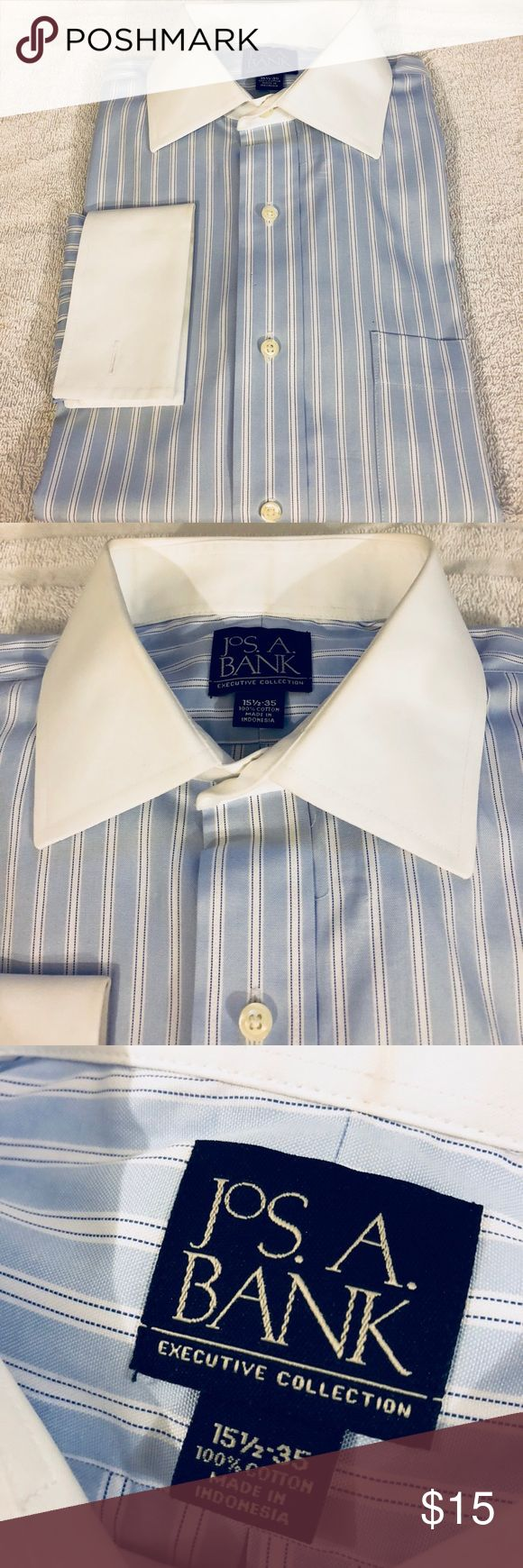 Jos A Bank Blue Stripe French Cuff Shirt 15.5-35 Jos A Bank Blue with White Stripe White Collar French Cuff Dress Shirt size 15.5-35! Like new!  Please make reasonable offers and bundle! Ask questions :) Jos. A. Bank Shirts Dress Shirts