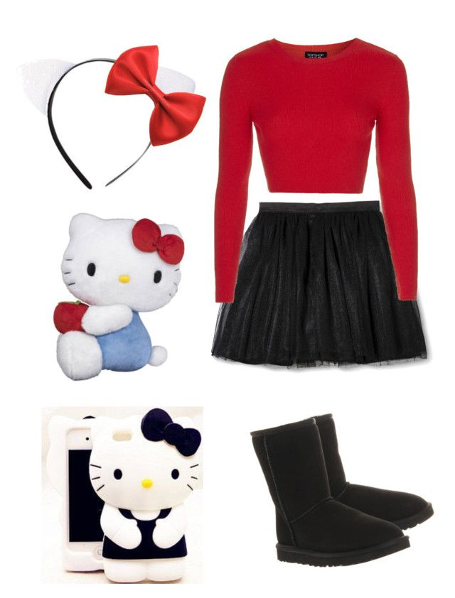 """Diy hello kitty halloween costume♡"" by stephouorellana ❤ liked on Polyvore featuring Topshop, UGG Australia and Hello Kitty"