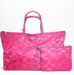 Available @ TrendTrunk.com Coach Hot Pink SIGNATURE NYLON PACKABLE WEEKENDER Tote. By Coach. Only $128.00!