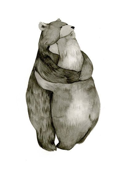 Bear Hug  Love  Original Illustration Print by CatherineLazarOdell