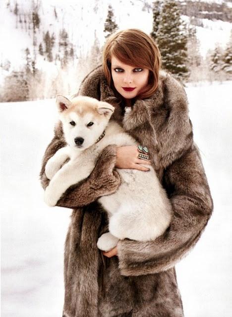 furTerry O'Neil, Fur Coats, Fashion, Dogs, November 2011, Harpers Bazaars, Winter Wonderland, Eniko Mihalik, Terry Richardson